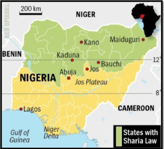 Nigeria is religiously split, and only about half of the states within the country are under Sharia Law.