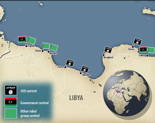 The Libyan cities, Derna and Sirte, are currently under ISIS control, adding to the previously existing conflict between Libyan militias.